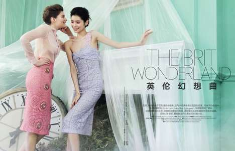 Ethereal Brit-Inspired Editorials - The ELLE China May 2014 Cover Shoot Stars Ming and Amber