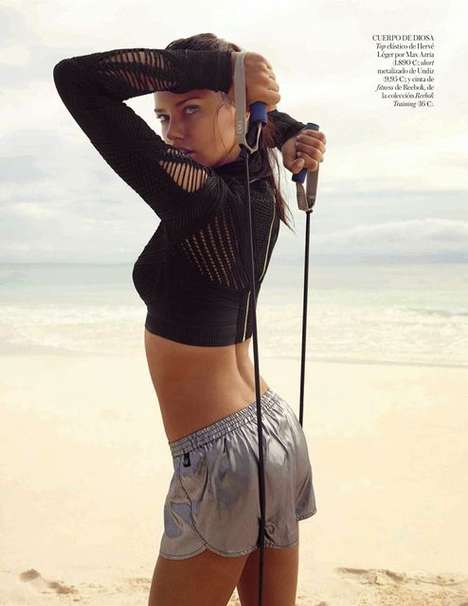 Sultry Beach Workout Editorials - Vogue Spain Features Adriana Lima Keeping in Shape