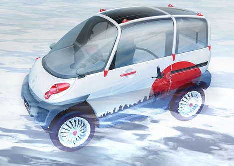 Transforming Floating Cars - The FOMM Concept One Electric Car Will Float to Safety in a Flood