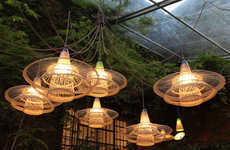 Whimsical Recycled Lighting - This Range of Wicker Lamp Shades Turns Trash into a Source of Light