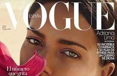 Pink Beachwear Fashion Editorials - The Vogue Espana Cover Shoot Stars Adriana Lima