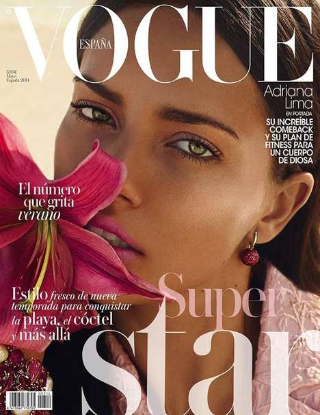 Pink Beachwear Fashion Editorials - The Vogue Espana Cover Shoot Stars Adriana Lima
