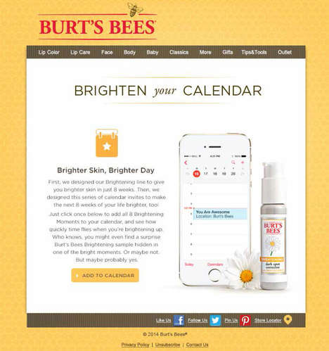 Uplifting Beauty Calendars - These Calendar Events by Burts Bees Bring Brightness to Your Days