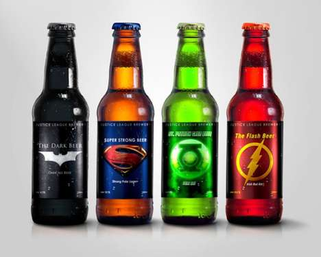 Comic Book Alcoholic Beverages - Super Hero Beers by Marcelo Rizzetto is Inspired by Justice League