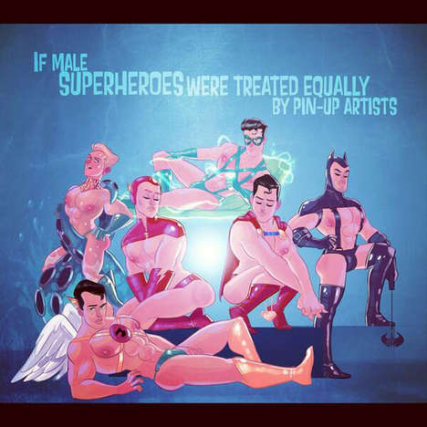 Pin-Up Superhero Illustrations - Stephen Byrne Imagines Male Superheroes as Pin-Up Models