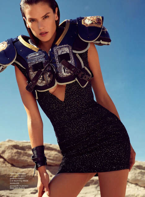 Couture Combat Editorials - Alessandra Ambrosio Stars in the Flair Magazine Issue