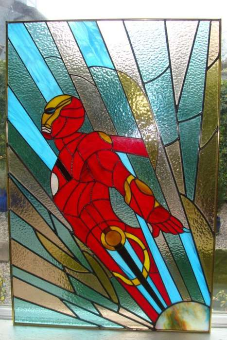 Superhero Stained Glass Windows - This Iron Man Stained Glass Window Adds Some Hero to the Home