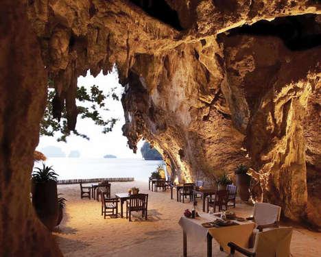 Beachside Cavernous Dining - The Grotto Restaurant at Krabi, Thailand's Rayavadee Resort is Stunning