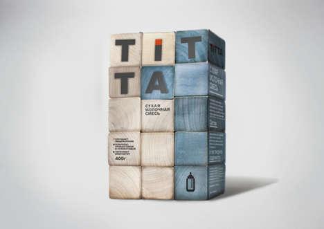 Building Block Milk Branding - Alena Milevskaia Creates a Childish Design for Titta Dry Milk