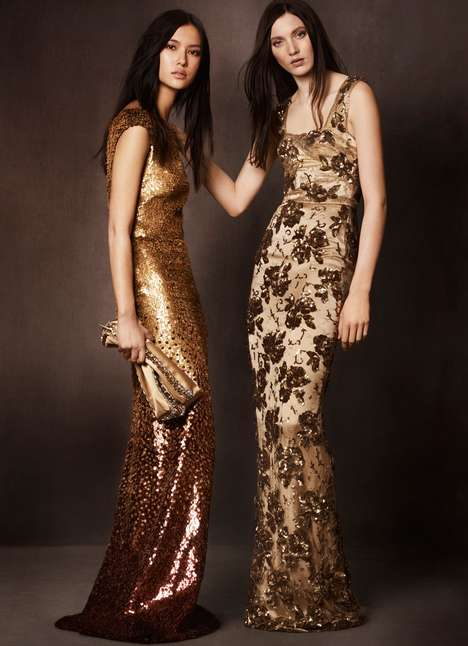 Metallic Gold Lookbooks - The Burberry Kerry Centre Collection is Super Glam and Chic