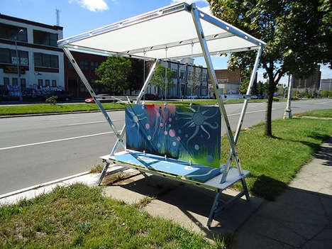 Recycled Door Bus Stops - Detroit