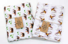 Whimsically Patterned Tea Towels - Run Rabbit Run Designs Playful Textiles for the Kitchen
