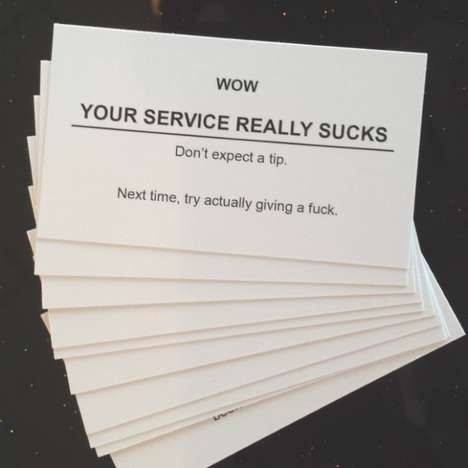 Not Tipping Notifications - These Rude Cards Let Restaurants Know the Extent of Your Displeasure