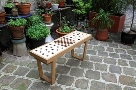 Artisan Game Board Furnishings - The Congo Quares Chess Board Bench is Inspired By The Strategy Game