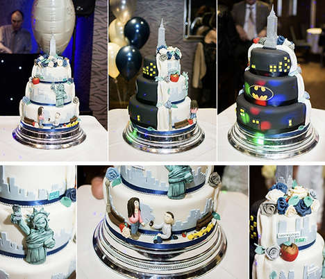 Split Personality Cakes - The Gotham City Wedding Cake Has a New York City Side