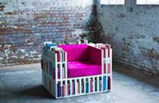 Reclining Bookshelf Chairs - The Bibilochaise Turns a Bookshelf into a Comfortable Chair
