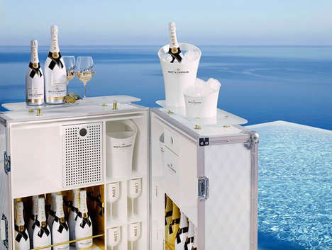 Poolside Champagne Bars - Moët & Chandon Designed a Luxurious Mobile Champagne Bar