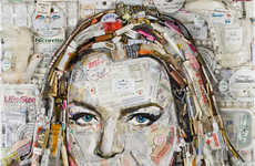 Celebrity Garbage Portraits - Artist Jason Mecier Created a Portrait of Lindsay Lohan Using Garbage