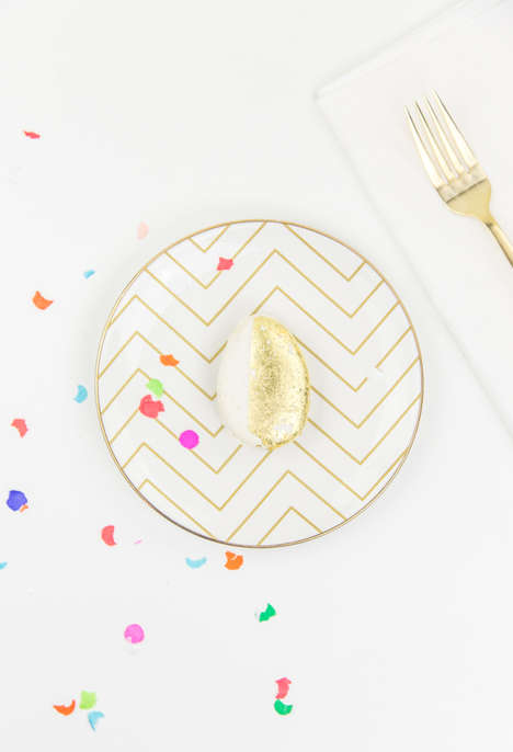 Edible Egg Place Settings - This DIY Golden Egg is Ideal for Easter