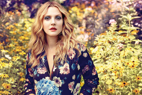 Botanical Cosmetic Campaigns - The Flower Beauty Ad Campaign Stars Founder Drew Barrymore