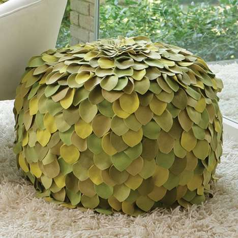 Faux Flora Furniture - This Nature Inspired Leafy Green Ottoman Brings the Rain Forest to Your House
