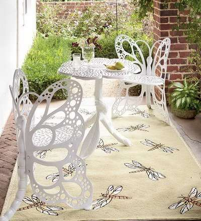 Whimsical White Winged Tables - This Aluminium All-Weather Butterfly Furniture Set is Very Durable