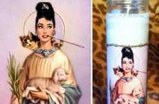 Saintly Actress Candles - This Audrey Hepburn Prayer Candle is Quirky Chic