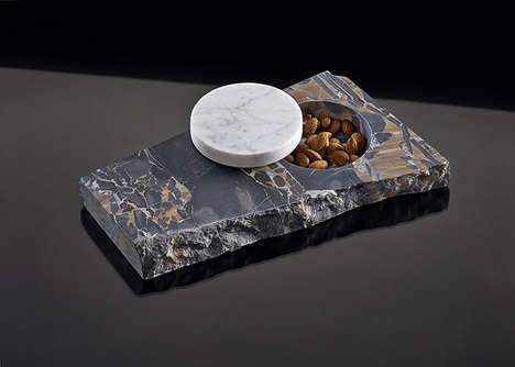 Modular Stone Tableware - All of a Piece by Earnest Studio is Made out of Scrap Granite and Wood