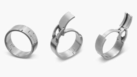 Hinged Wedding Rings - These Mens Wedding Bands Include a Locking Mechanism for Active Hands