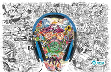 Illustrated Audio Accessory Ads - The PopClik Headphones Campaign Promotes an Oasis of Sound