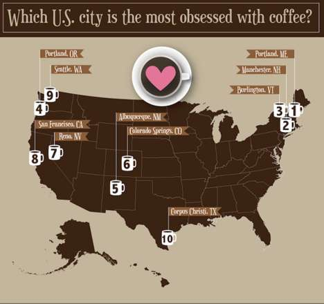 Regional Coffee Lover Charts - Ryoko Itawa Made a Coffee Map that Reveals Coffee-Loving States