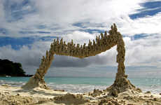 Abstract Beach Art - Sandcastle Matt Uses Found Objects to Create Avant Garde Sand Sculptures