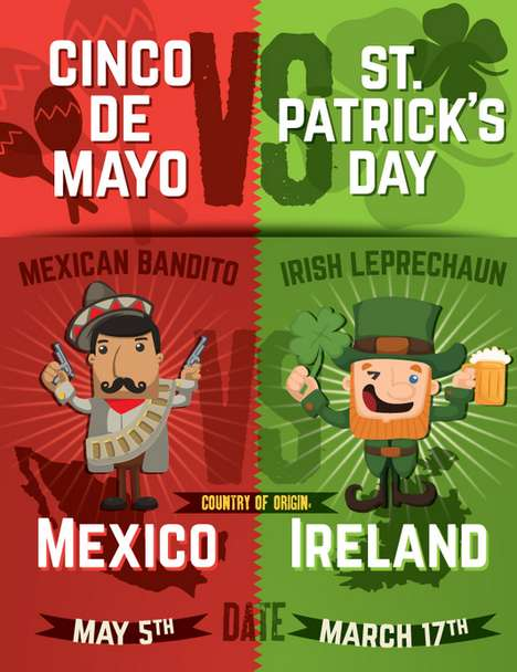 Holiday Comparison Graphics - Mucho Burrito Compares the Cinco De Mayo Holiday to St. Patrick
