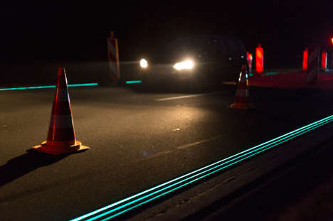Glow-In-The-Dark Roads (UPDATE) - Luminous Road Paint Makes Driving in the Netherlands Much Safer