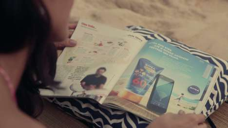 Wearable Magazine Promotions - The Nivea 'Sun Band' Magazine Ad Pops Out into a Bracelet