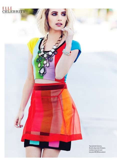 Seasonally Colorful Celeb Editorials - The ELLE Canada Cover Shoot Stars Emma Roberts