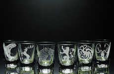 Fantasy Shot Glasses - This Shot Glass Features the Family Crests of GOT Characters