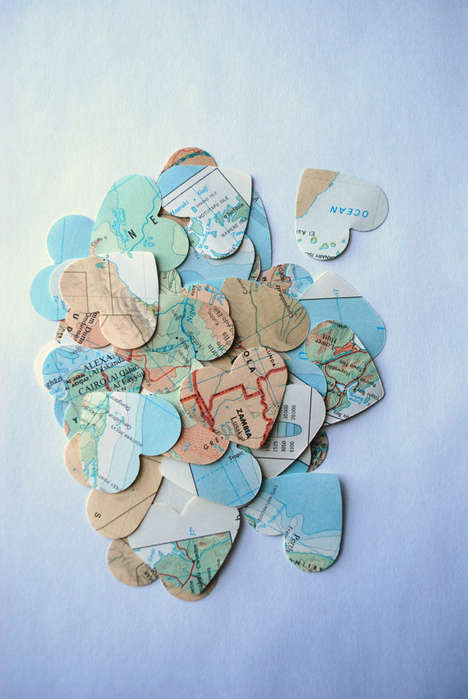 Romantic Topography Confetti - This Wedding Confetti is Made From Heart-Shaped Maps