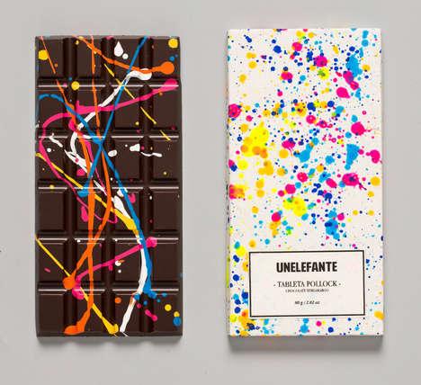 Paint-Splattered Chocolates - Unelefante's Jackon Pollock Style Chocolate Bars Are Art-Appreciative