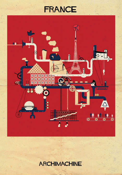 Architecture-Based Maps - These Renderings by Federico Babina Focus on Famous Landmarks