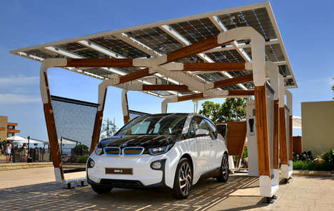 Energizing Solar Carports - The Latest BMW Electric Car Refuels in a Solar Carport