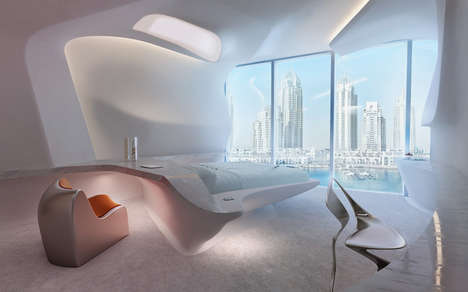 White-Washed Hotel Designs - Zaha Hadid Creates the Interiors for the Opus Office Towers in Dubai
