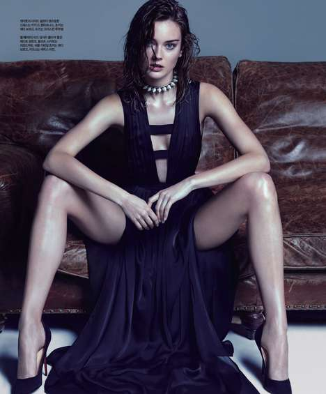 Glamorously Distressed Editorials - The Singles Korea Royal Black Photoshoot is Edgy