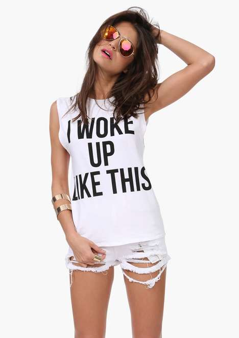 Confidence-Boosting Song Lyric Tees - The Wake Up Like This T-Shirt Quotes Beyonce