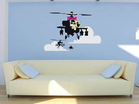 The Banksy Happy Chopper Wall Decal is Distinctly Fun Street Art