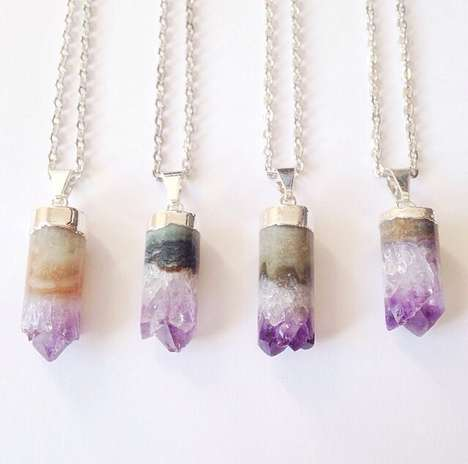 Precious Stone Pendulum Accessories - These Amethyst Druzy Cylinder Necklaces Embody Nature