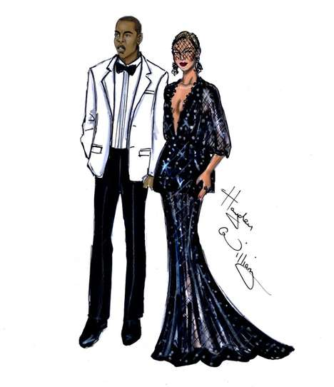 Elegant Celeb Fashion Illustrations - These Drawn Met Gala Dresses Recap the Best White Tie Looks