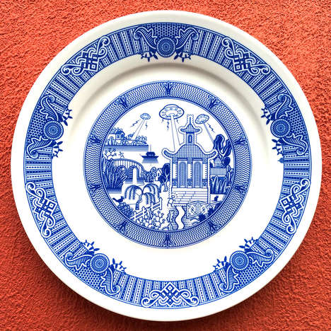 Disastrous Scenario Porcelain Plates - Calamitywear by Don Moyer Turns Tradition on Its Head