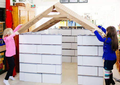 LEGO-Like Cardboard Forts - Buildies by Brian Lilly are Playhouses Made Out of Blocks