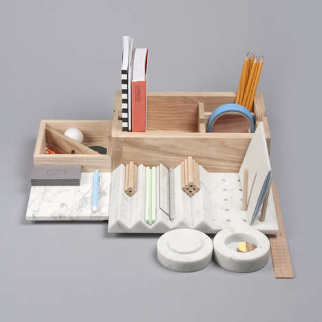 Marble-Wood Stationery Organizers - Shkatulka by Lesha Galkin is Sophisticated and Sculptural